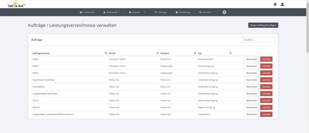 Digitale Auftragsverwaltung Übersicht software gebäudereinigung