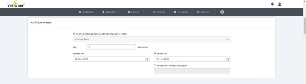 Digital Auftragsintervalle anlegen YA Clean software gebäudereinigung