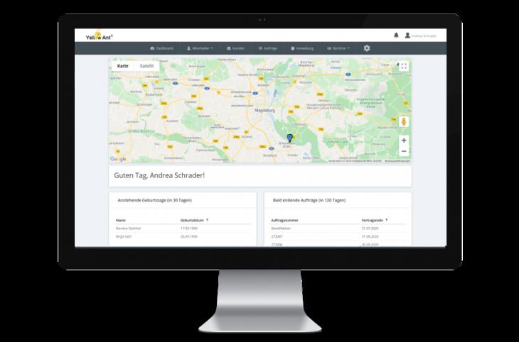 Dashboard der Software YA Clean software gebäudereinigung