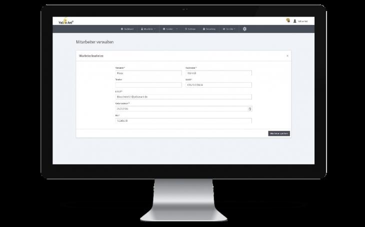 Disposition Mitarbeiter verwalten in YA Clean software gebäudereinigung